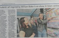 Students' Blake art on show in town centre - 21st August 2014